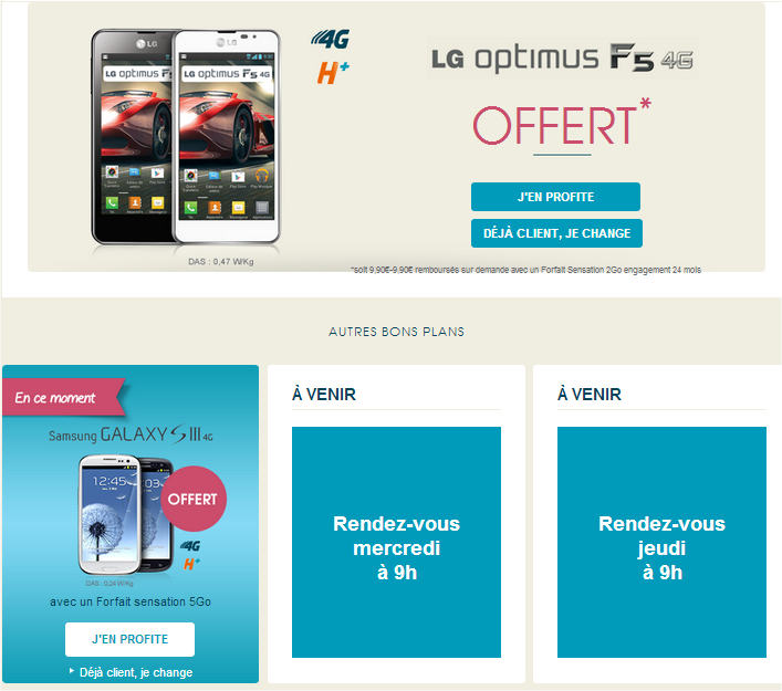 des smartphone 4g offerts pendant 4 jours chez bouygues telecom 4g lte. Black Bedroom Furniture Sets. Home Design Ideas